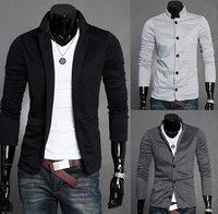 Spring 2014 Stand-up Collar Cotton Slim Fit Solid Men Blazer Suit Jacket Plus Size Men's Clothing