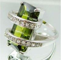 Fashion design Jewellery peridot  lady's 10KT  white Gold Filled Ring Size 8    10pc/lot  freeshipping