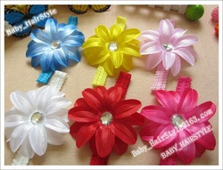 13 Color U-Pick (500pcs Lily Satin Flower +500pcs Hairclips + Lace Hairband) Baby Hair Grips Claws Girl Hair Bows Headwear(China (Mainland))