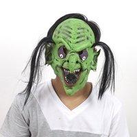 FREE SHIPPING!!!Monster mask, Halloween terrorist mask, bar party kuso mask, green face black hair ghost