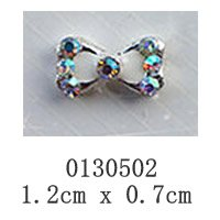 free shipping (10 pieces/pack) 3D white bow tie Alloy AB color Rhinestone Nail Art iphone mobile phone Glitter Decoration