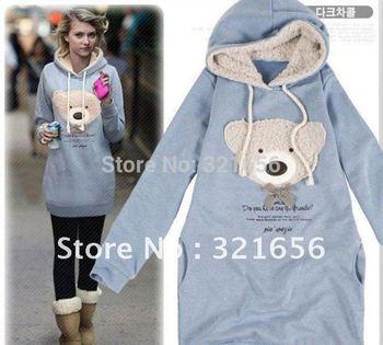 Hot sale  Popular woman fashion autumn spring litter bear warm sweater hoodies sweatershirt Free Shipping