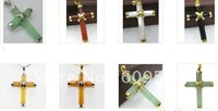18KGP green yellow red jade black agate white jade cross pendant free chain