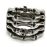 Guarantee 100%  Hot Sale Mens Boys Cool Ring,Skeleton Ring Biker New,Free Shipping Men's Silver Skull Stainless Steel Cross Ring
