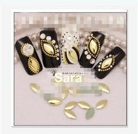 1000pcs/bag, 3*6mm, Gold Color, Rice Shape  3D Metal alloy Nail Art  Decoration, Nail Metallic Decoration + Free shipping