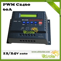 PWM Solar Charger Controller C2460 60A 12V 24V Solar Regulator CE RoHS and LCD Display of Charged AH and Discharged AH Free Ship