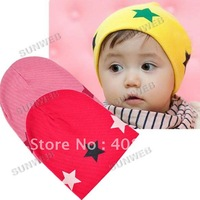 Free Shipping Star Cotton Beanie Hats Skull Cap For 1-3 Years Toddler Infant Baby Kids Retails 5662