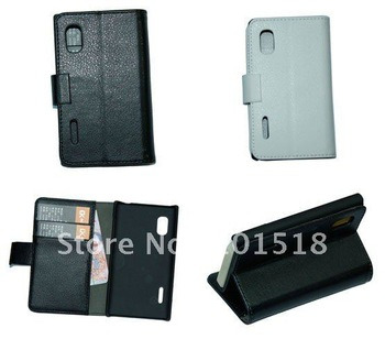 Black Book Leather Case Cover Pouch + LCD Film for LG E610 Optimus L5 ,inner standing