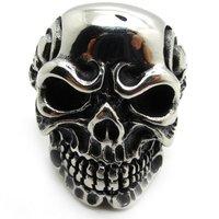 Free Shipping,PUNK Jewelry For Mens Silver Biker Skeleton Skull Rings Stainless Steel Gothic Biker Men's Ring