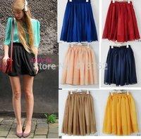 2014 Retro high waist pleated double layer chiffon Short Mini Pompon Skirts 7 colors free shipping