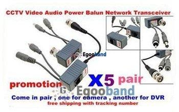 HOT!!!   5x Multi-purpose Video Balun / CAT5 - BNC Converter Transfer Video/ Audio/ Power  Free shipping