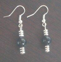 Personality Tibetan silver black jade earrings/6mm