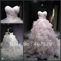 2013 Free Shipping Organza Ball Gown Classical Beading Sweetheart Chapel Train Cheap Wedding Dresses/Cheap Wedding Gowns
