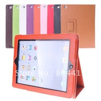 New Sale!  Litchi Embossed Folio PU Leather Smart Cover Stand Case for iPad 2 The New iPad, Free Shipping