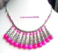 Gratifying Tibet Silver pink jade beads Necklace
