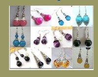 12 Pair Wholesale Tibet Silver Asia jade beads earrings