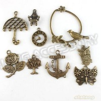 New Promotion Assorted Charms 54pcs/lot Antique Bronze Plated Alloy Pendant Jewelry Findings 142731