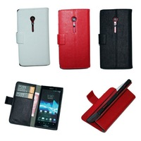 PU Wallet Case For Sony LT28i Xperia ion with stand