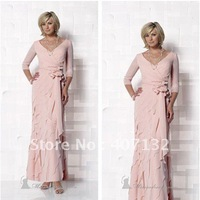 Girlish Empire V-neck Pink Chiffon Ruffle 3/4 Sleeves Ankle Length Mother of the Bride Dresses