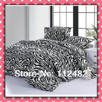 zebra-stripe CORAL FLEECE 4pcs Bed Printing Soft Bedding Set Gift Free Shipping