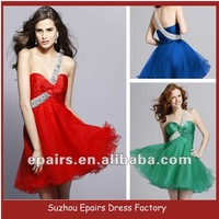 CD227 Organza Short Puffy Sweetheart Beaded Strap Cocktail Dresses
