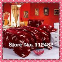 CORAL FLEECE Christmas Deer 4pcs Bed Printing Soft Bedding Set Gift Free Shipping