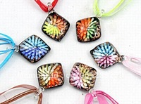 European hot sale 6pcs wholesale lots mix color new style gold dust murano lampwork square glass pendant necklace jewelry