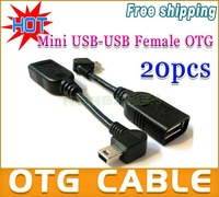 20PCS/LOST* FACTORY DIRECT* USB2.0 A Female to Mini USB-B 5Pin Male Right Angled 90 degree OTG Host cable Free shipping