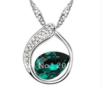 New 18K White Gold Plated Green Crystal Water Drop and Clear Rhinestone Rings Necklaces SWA elements