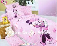 cartoon children's bedding set minnie pink duvet cover set 3PC set pillow case sheet quilt cover kids girl bedcover bedset gift