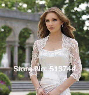 free shipping Premium Grade Premium Grade   Lace Wedding Bolero Jacket,Wedding Jackets Custom Any Color/Size