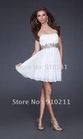 Custom Made 2012 Summer Short Grecian Inspired Strapless Sequined Empire Homecoming White Dress