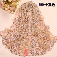 Min. order US$10 Free Shipping 2012 spring and autumn chiffon silk scarf leopard print long multicolor wrap good quality shawl
