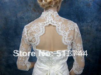 3/4 sleeve bridal bolero bridal jacket bridal shrug alencon lace bolero jacket wedding bolero wedding jacket keyhole