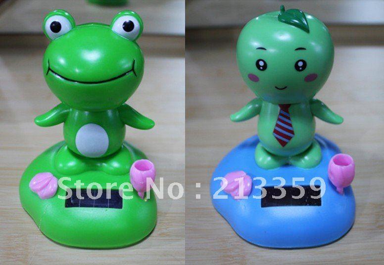 Free Shipping for Frog Flip Flap Solar Powered Moving Head & Feet Multi Solar dolls(China (Mainland))