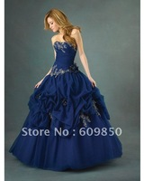 2013 Fast delivery customized  strapess handmade flower ball gown  navy blue  graceful quinceanera dresses