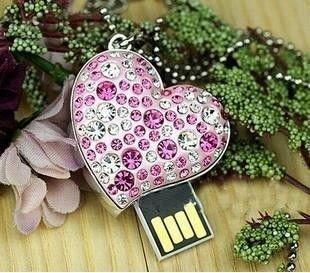 Diamond crystal heart USB 2.0 Flash Memory Pen Drive Stick 2GB 4GB 8GB 16GB 32GB LU002