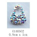 free shipping (10 pieces/pack) 3D silver hobo handbag Alloy AB color Rhinestone Nail Art iphone mobile Glitter Decoration