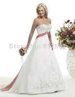 Free Shipping!! Hot Selling Charming White&Pink Embroidery Wedding dress Bridal/Prom Gown Custom Size/Color Wholesale/Retail