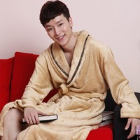 Male robe coral fleece robe male home casual sleepwear male casual derlook robe