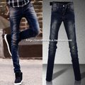 Male autumn trousers cat scratches x retro finishing hole jeans men&#39;s skinny pants