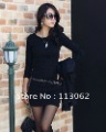 free shipping new women&#39;s long sleeve dress 100% cotton O-neck slim bottoming shirt solid color rhinestone knit dresses