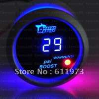 "NEW 2"" 52mm CAR AUTO MOTOR DIGITAL BLUE LED -14~29 PSI BOOST GAUGE CAR AUTO"