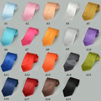 2PCS Fashion Solid Color Men's Tie Necktie Classic Solid Plain Neck Tie Set H0066