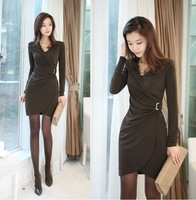 Women Sexy Slimming Sheath Dress Long Sleeve Draped Button Black Work Dresses Free Shipping f6061