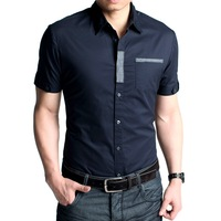Unique neckline decoration full cotton fabric men's short-sleeve slim shirt fc-11555