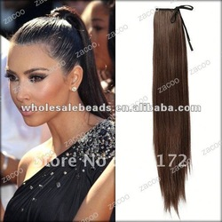 55x10cm Hair Size Dark Brown (Wrap Round) Pony Tail Extension HA0001-4(China (Mainland))