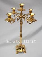 Top rated 63cm high 5 lights wedding candelabra in golden color , candle holders