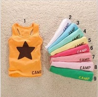 hot-selling five-pointed star pattern 100% cotton male children and baby vest sleeveless T-shirt and undershirt