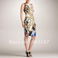 Gorgeous print fashion V-neck one-piece dress formal dress 1124